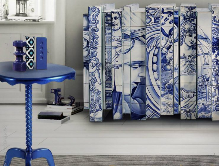 Ottoman Side Table: Shades Of Blue In A Simple Yet Luxurious Piece